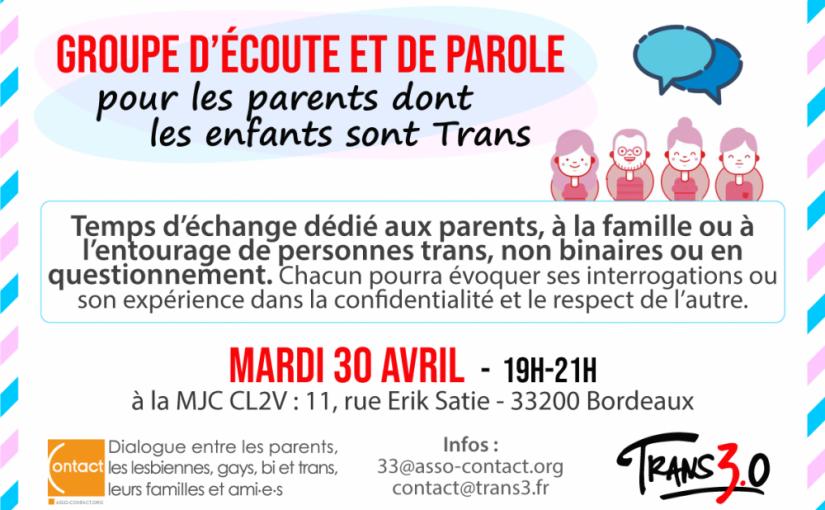Un groupe d'écoute et de paroles pour les parents dont les enfants sont Trans